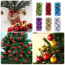 24PCS/Lot 4cm Electroplating Christmas Tree Decoration Ball Accessories Children Gift Toy Room Toys