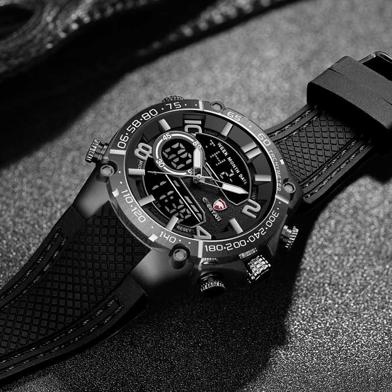 CHEETAH мужские часы с двумя дисплеями Топ бренд Мода Роскошные Аналоговые Цифровые спортивные часы мужской хронограф водонепроницаемый светодиодный наручные часы