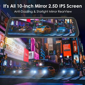 """Image 5 - AZDOME 10"""" Mirror Dash Cam for Cars with Full Touch Screen, Waterproof Backup Camera Rear View Mirror Camera, Night Vision"""