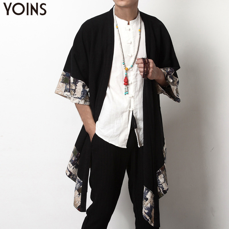 2019 Plus Size Fashion Men Long Outwear Shirts Half Sleeve Irregular Chinese Style Retro Male Cloak Coats Stylish Casual Trench
