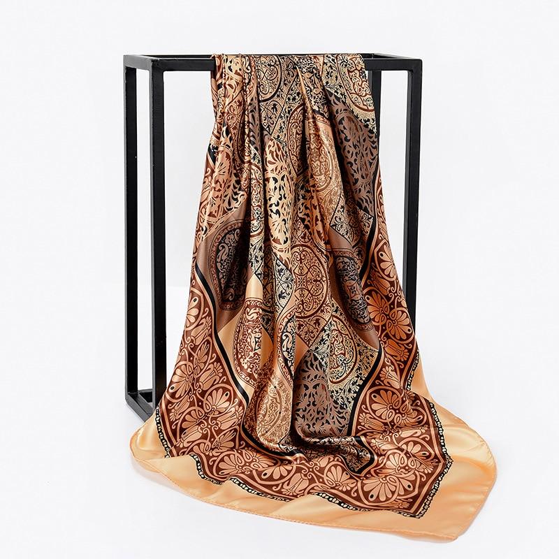Silk Satin Kerchief Women Hair Scarf Pink Hhaki Fashion Print Hijab Scarfs 2019 Square Shawls And Wraps Scarves For Lady 90*90cm