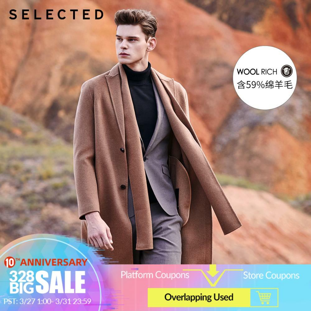 SELECTED Detachable Scarf Mid-length Double-faced Woolen Overcoat S|419427501