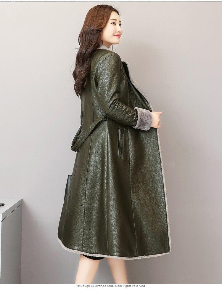 Leather Jacket Women Winter Autumn Warm Long Overcoat Female Split Leather Jackets Outwear Plus Size 5XL LX2596