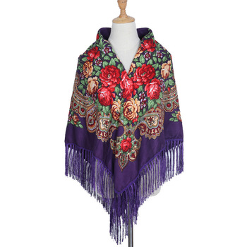 135*135cm Women Russian Square Scarf National Wind Fringed Scarves Winter Blanket Shawl Ladies Retro Floral Pattern Hijab Wraps chic leopard pattern fringed edge voile scarf for women