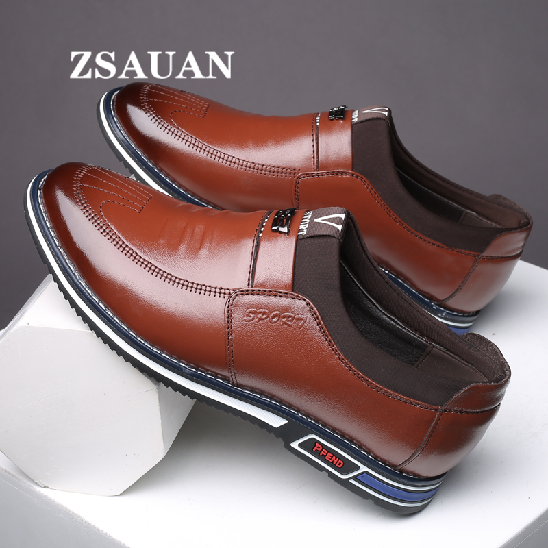 ZSAUAN Spring Leather Mens Sneakers Invisible Height Increase Male Elevator Shoes Taller Winter Plush Casual Flats Dropshipping