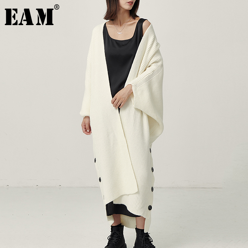 [EAM] Side Button Big Size Long Knitting Sweater Loose Fit V-Neck Long Sleeve Women New Fashion Tide Autumn Winter 2019 1B602
