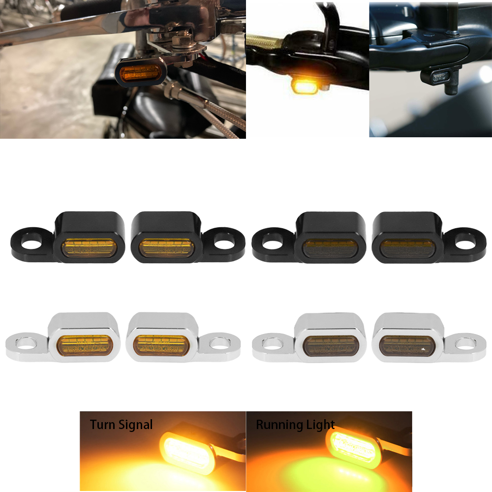 Motorcycle 2PCS Mini LED Lamp Turn Signal Amber Light 12V E Mark For Harley Softail Breakout 16-17 Touring Road King Glide 14-21
