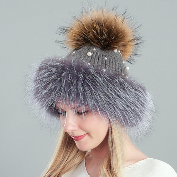 Real Fur Pom Pom Hats For Women Knitted Beanies Caps With Pearl Women's Winter Hats For Girls New fox Hair Lady Hat image