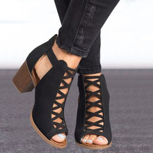 Women Chunky Heel Sandals 2020 Peep Toe Hollow Out Gladiator Sandals Cross Strap Black Flock Spring Summer Boots Female Shoes newest solid black buckle strap mid calf peep toe hollow out short boots women spring and autumn high heel shoes free shipping