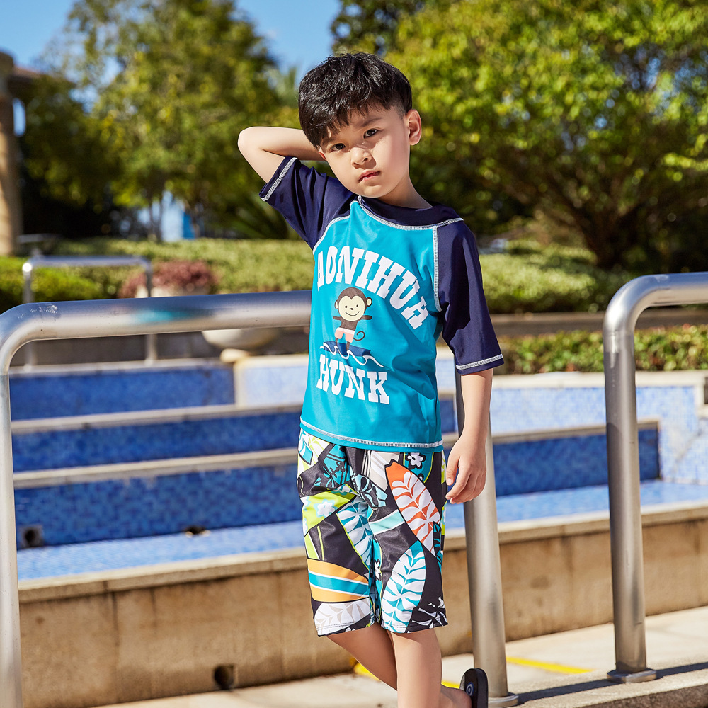2019 Children Split Type Swimsuit Male Baby Bubble Hot Spring Swimsuit For Boys Handsome Cute Sports Olive Flower 1049