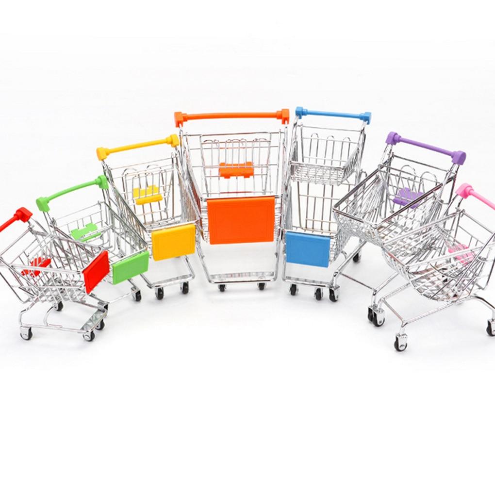 Pretend Play Groceries Toys Supermarket Handcart Toys Carts Storage Folding Mini Shopping Cart Basket Toys For Children Boys