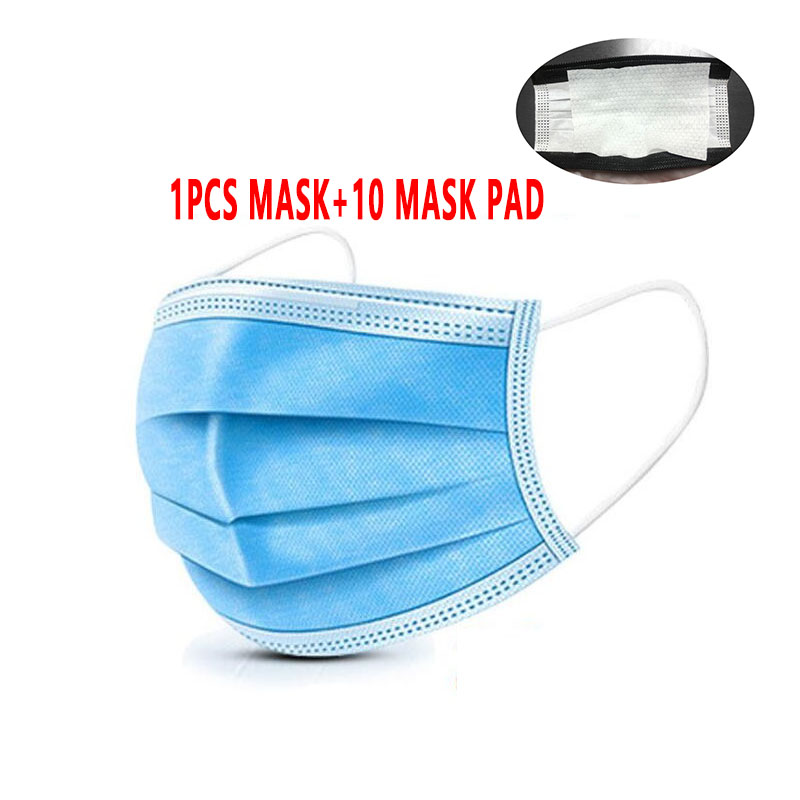 11pcs Anti-pollution 3-layer Mask Disposable Mask Anti-bacterial Flu Filter Elastic Fast Delivery Face Protection Safety Mask