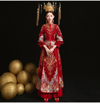Red Oversize 3XL Bride Dress Wedding Dress Retro Dress Chinese Cheongsam Dress High Quality Embroidery Peacock Long Section