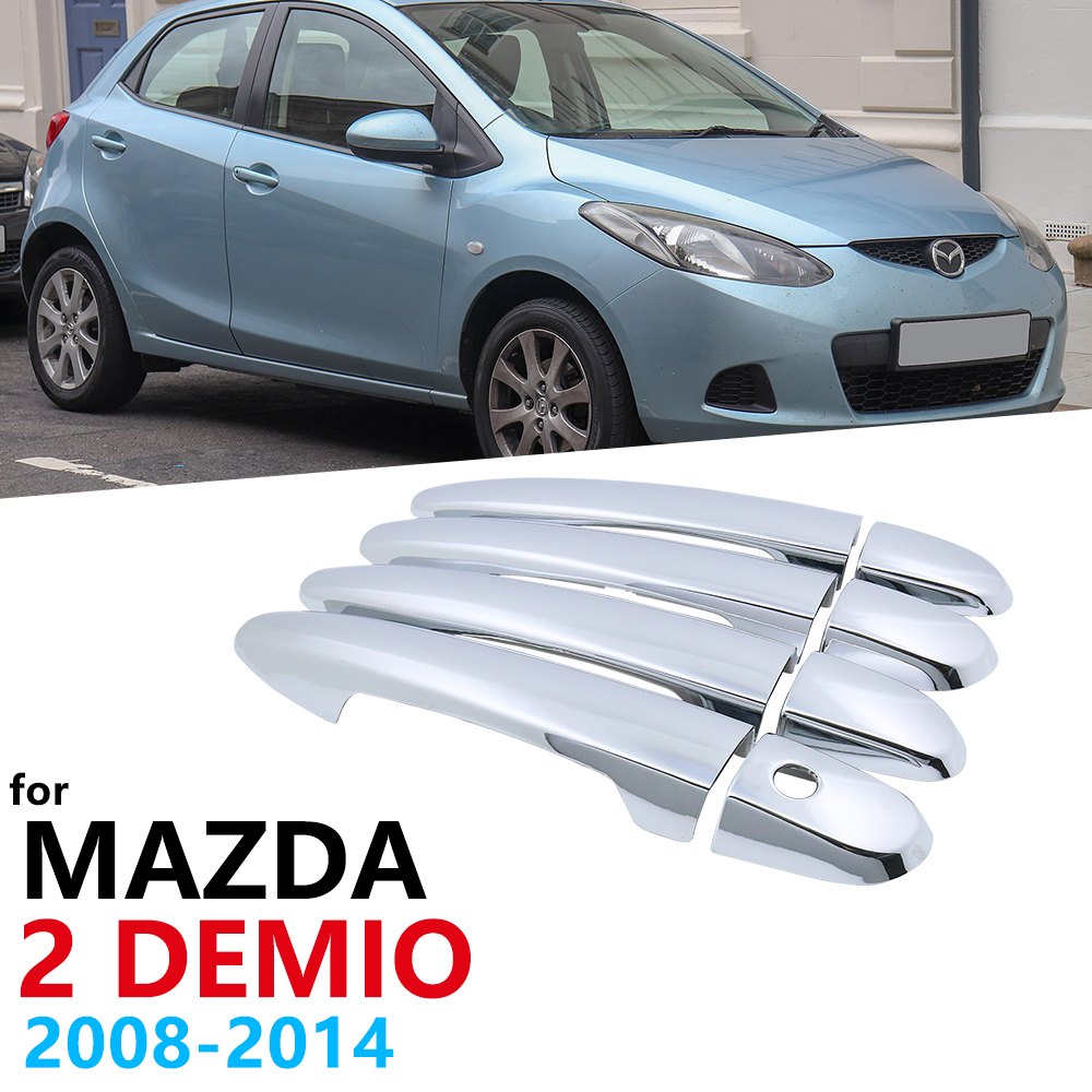 Chrome <font><b>Handles</b></font> Cover for <font><b>Mazda</b></font> 2 Demio <font><b>Mazda2</b></font> MK3 DE 2008~2014 Car HandlesAccessories Stickers Silver gloss 2009 2010 2011 2012 image