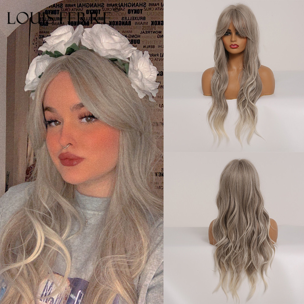 LOUIS FERRE Long Gray Ombre Ash White Synthetic Wigs With Blonde Highlights For Woman Cosplay Wavy Wig With Bangs Heat Resistant