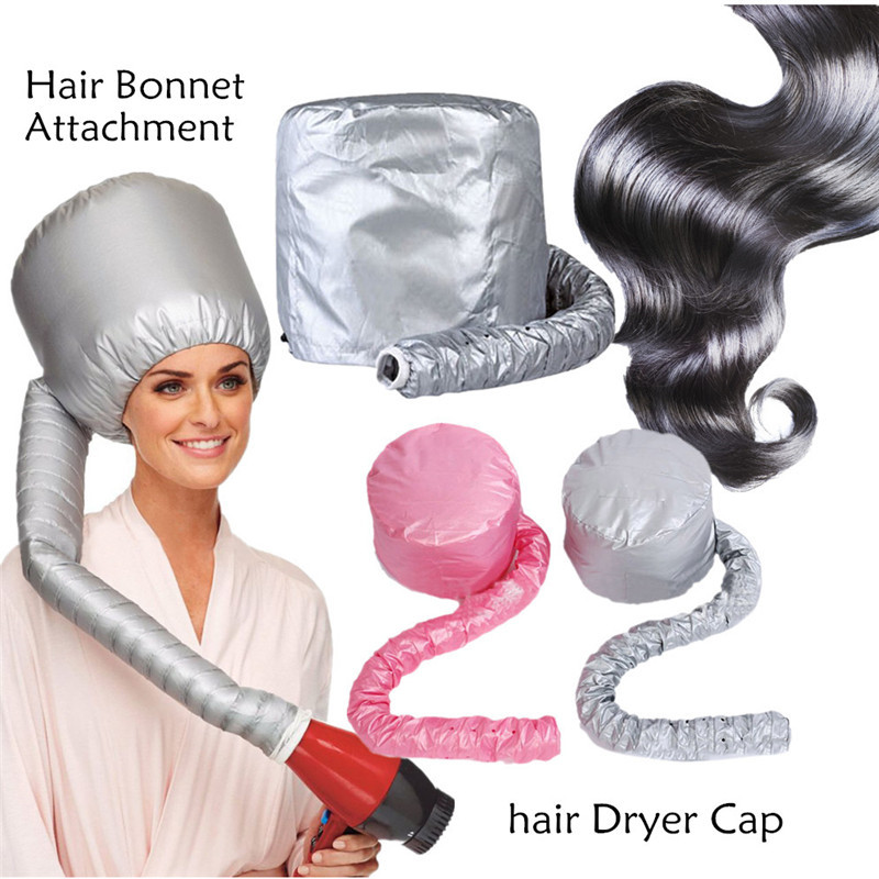 Sliver/Pink Portable Soft Hair Drying Cap Bonnet Hood Hat Womens Blow Dryer Home Hairdressing Salon Supply Adjustable Accessory