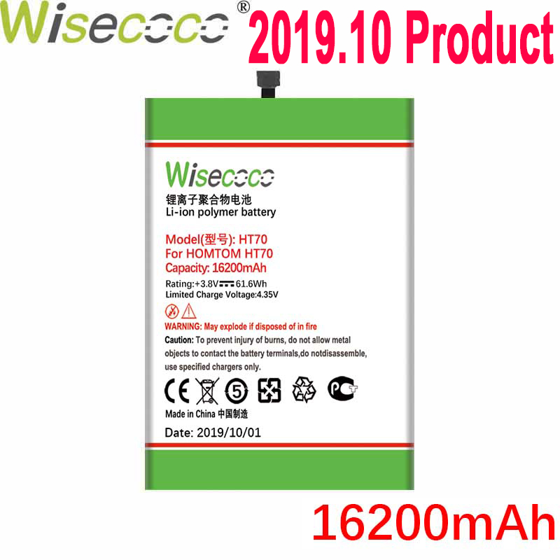 WISECOCO 16200mAh HT70 Battery For <font><b>HOMTOM</b></font> HT70 Mobile Phone In Stock Latest Production High Quality Battery+Tracking Number image