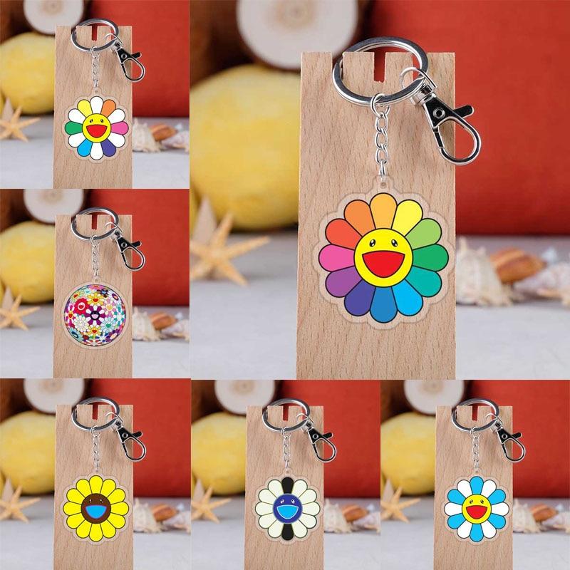 Takashi Murakami Kaikai Kiki Keychain Cartoon Sun Flowers Acrylic Pendent Keyring