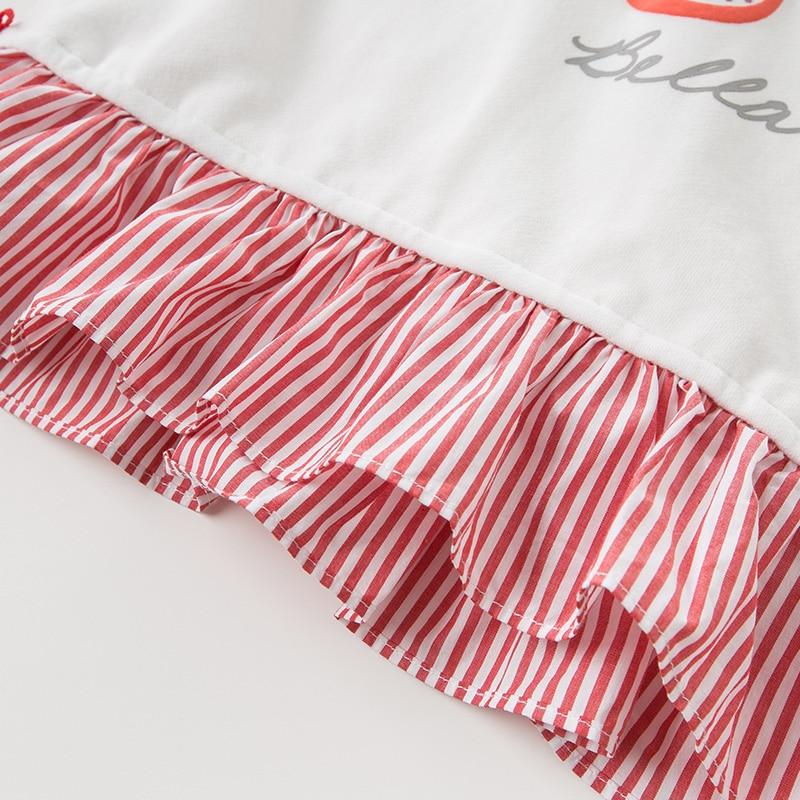 DBK10672 dave bella automne 5Y-13Y enfants vêtements enfants doux arc dessin animé rayé T-shirt filles de haute qualité mode t-shirts - 6