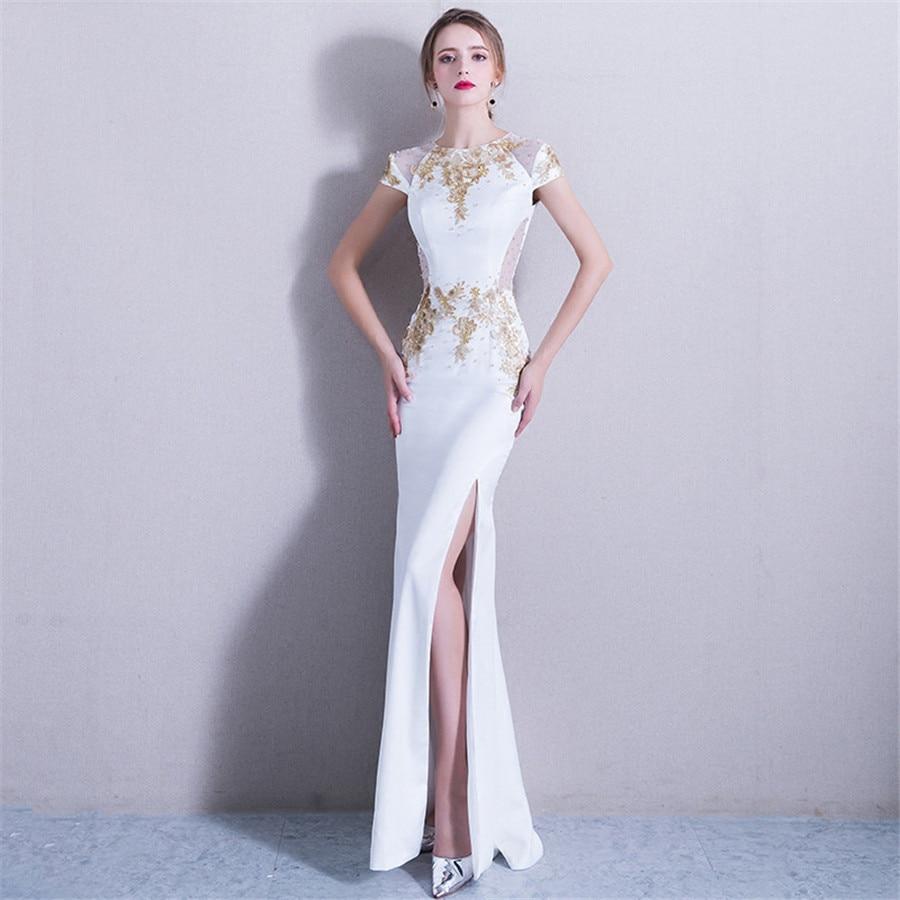 Evening Gown White Split Elegant Evening Dresses 2019 Floor Length Sequin Robe De Soiree O-neck Short Sleeve Formal Dress F257