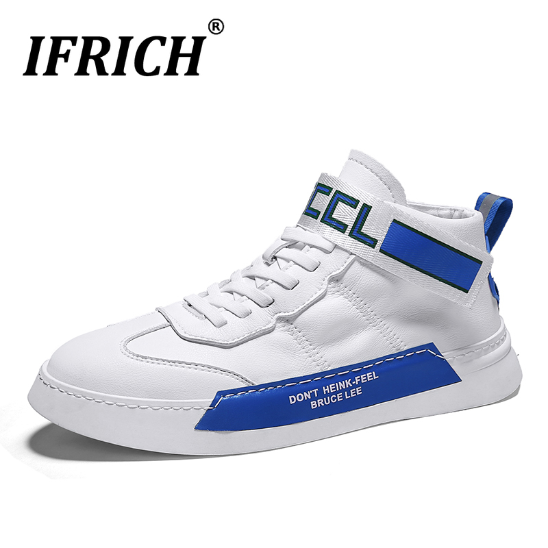 New Spring 2020 New Men Original Leather Shoes Luxury Brand Men Shoes White Blue Sneakers Man Non-Slip Flats Casual Shoes Boys