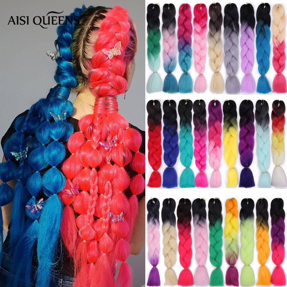 AISI QUEENS Ombre Jumbo Braids Synthetic Braiding Kanikalon Hair for Women Crochet Braid 100g 24inch Hair Extension Pink Blue