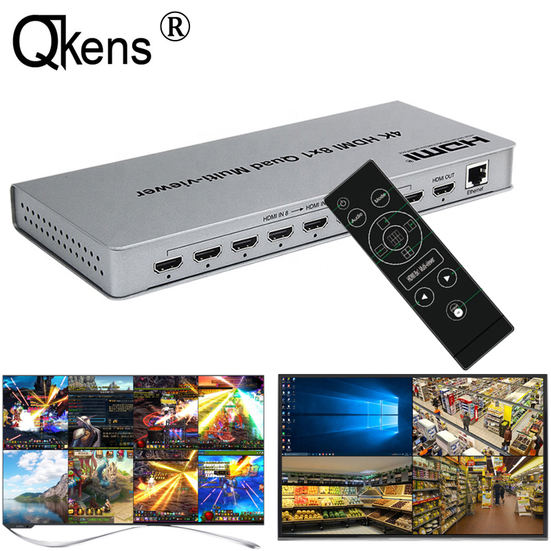4K HDMI 8x1 Quad Multi-viewer Switcher 8 In 1 Out Seamless Switch 4x1 Multi Viewer PIP Picture Screen Divider Video Converter