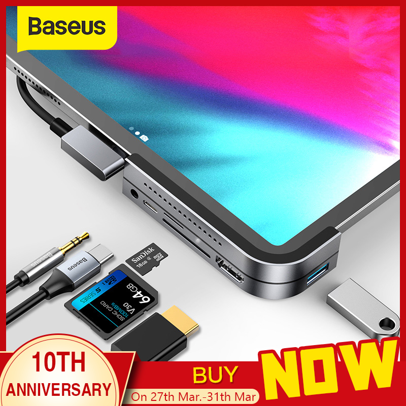 Baseus USB C HUB To USB 3.0 HDMI USB HUB For IPad Pro Type C HUB For MacBook Pro Docking Station Multi 6 USB Ports Type-C HUB