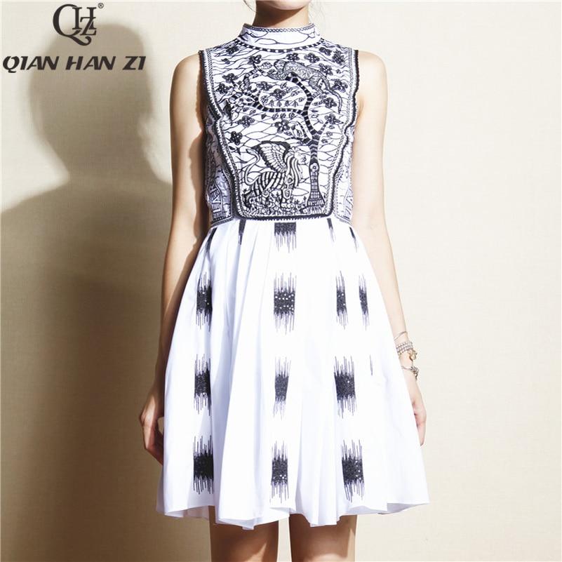 Qian Han Zi 2019 Брендовое модное платье для подиума женское элегантное платье без рукавов 100% хлопок вечерние платье с вышивкой и пайетками
