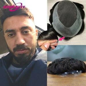 AddBeauty Swiss Lace PU Man Toupee Replacement Systems Mono NPU Handmade Men Wig Hairpiece Natural Remy Indian Human Hair 6 Inch(China)