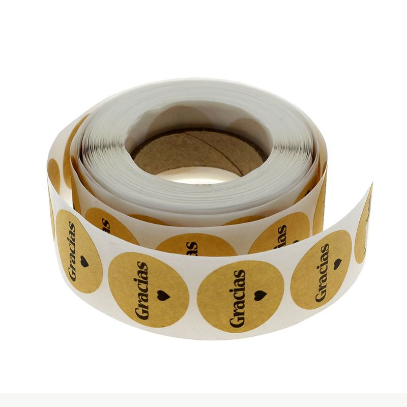 500 pces kraft gracias espanhol obrigado você etiquetas adesivo envelope pacote selo