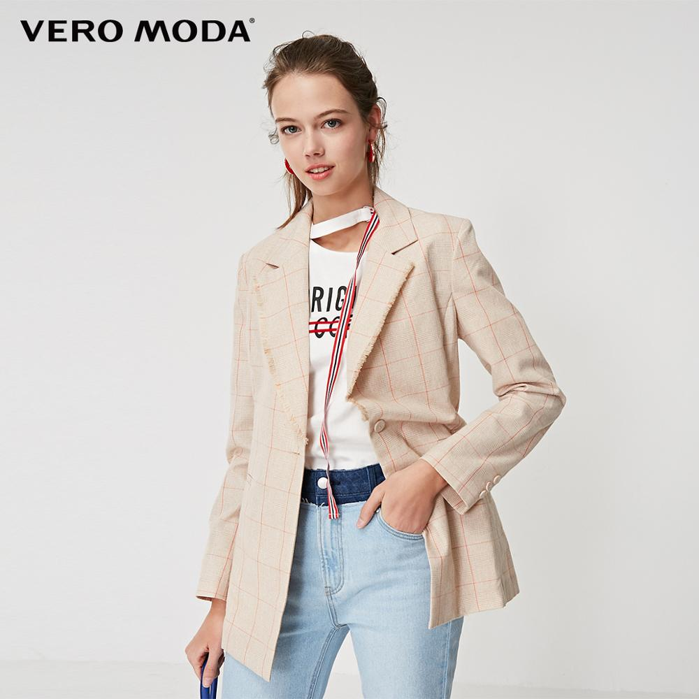 Vero Moda Women's Plaid Lapel Wrist Sleeves Blazer   319208526