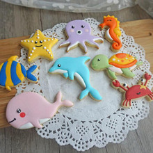8pcs/set Whale Dolphin Octopus Crab Turtle Fondant Tools Biscuit Moulds Sea Cookie Cutter Sugar Craft Baking Pastry Stamp Mold
