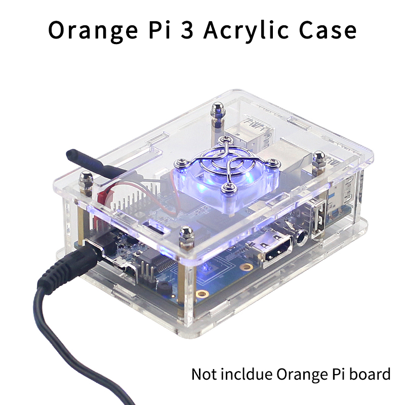 Orange Pi 3 Case Acrylic Box Transparent Enclosure Protective Shell With Cooling Fan Cover For Orange Pi 3