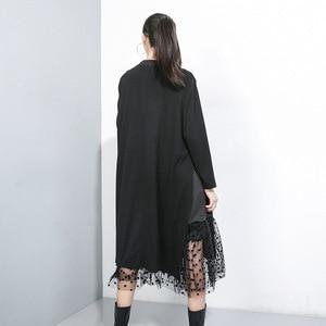 Image 3 - Novo estilo japonês 2019 mulheres inverno sólido preto vestido longo lado split malha hem senhoras tamanho grande vestido reto robe femme j235