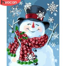 HUACAN Christmas Gift Paint By Numbers Snowman Pictures On Canvas Hand Painted Drawing DIY Oil Painting Arts Home Decor