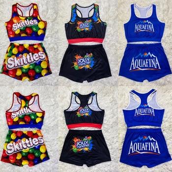2020 Summer New Design Popular Accept Custom Printed High Waist Plus Size Casual  Candy Women Snack Shorts Set