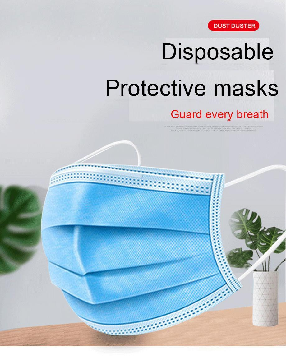 50pcs/Bag 3 Layer Non-woven Dust Antiviral Mask Thickened Disposable Mouth Mask