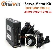 60ST M01330 400W AC servo motor driver kit durchmesser 60mm servo motor 220V 1,27 NM 3000rpm A1 SVD15