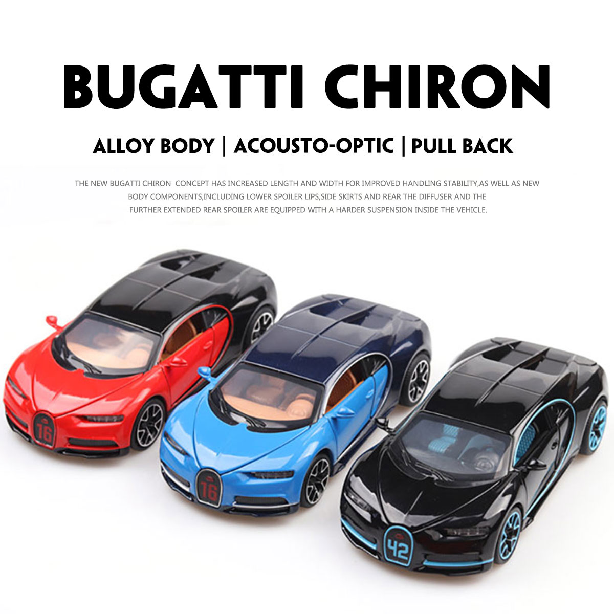 1:32 Alloy Vehicle Car Toy Car Model Pull Back Toy For Children Pull Back Models Sound Light Boy Kids Gifts For Bugatti Chiron