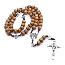 Necklace Catholic Religious Jewelry Rosary Cross-Jesus Bead for Men Pendant Gifts Round
