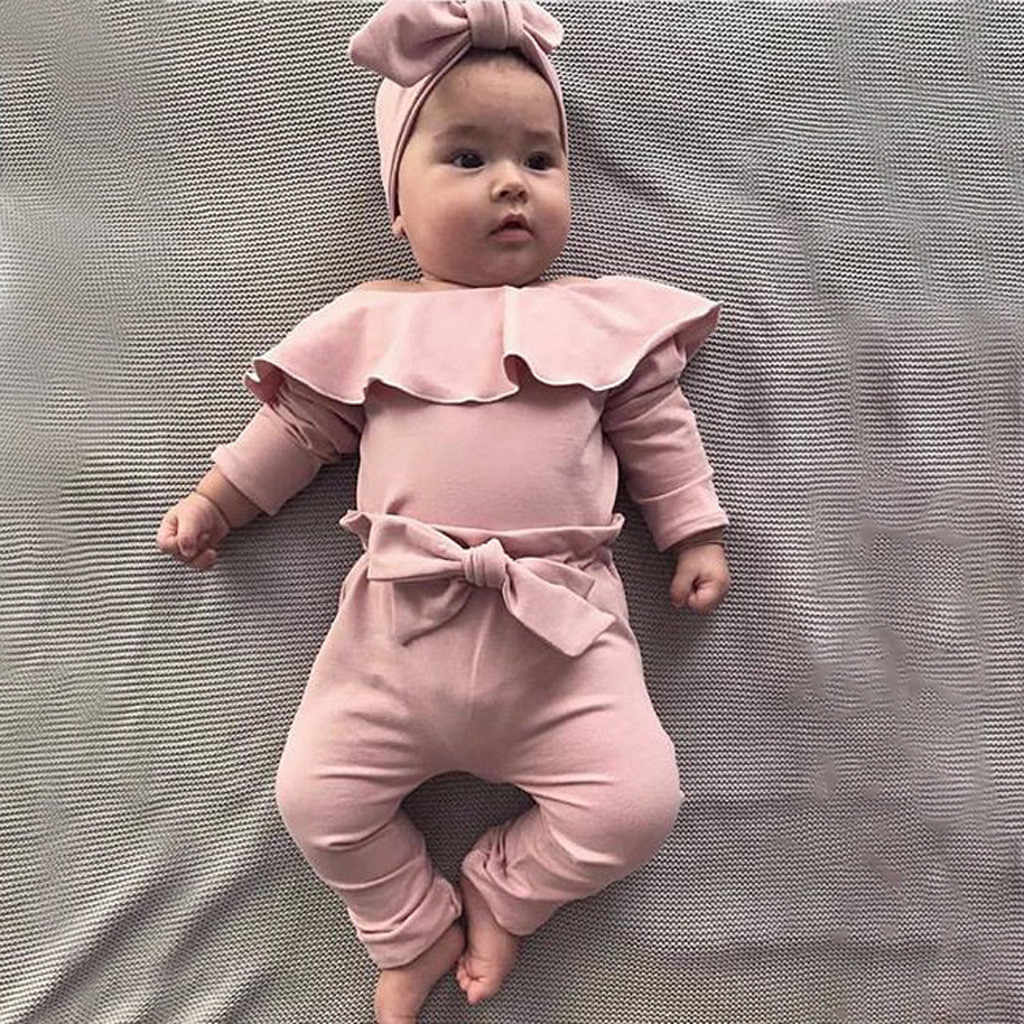 Baby Girls Ruched Ruffled Clothes Set Newborn Infants Long Sleeve Solid Color Knitted Blouse Tops /& Pants Outfits Comfort Pyjamas Set Underwear for 0-24 Months Toddlers