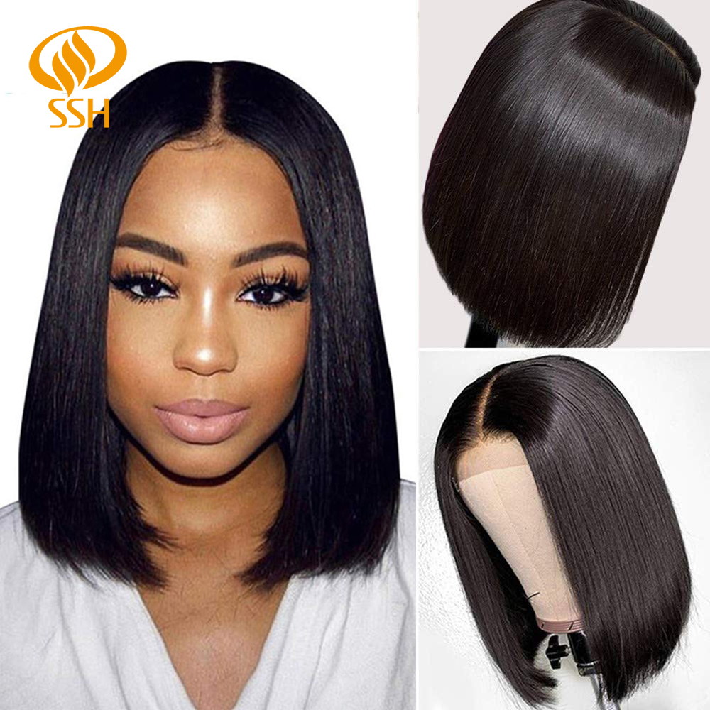 SSH Straight Short Bob Human Hair Wigs For Black Women Lace Part Brazilian Hair Wigs Remy Hair Middle Part Side For Brown Women