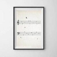 ورقة الموسيقى مع الطيور خمر طباعة ملصق الموسيقى جدار الفن صورة مطبوعة على القماش اللوحة الموسيقية ملاحظات غرفة ديكور الموسيقى المعلم هدية