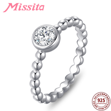 MISSITA 925 Sterling Silver Elegant Clear AAA Cubic Zirconia Finger Rings for Women Brand Wedding Party Gift Jewelry