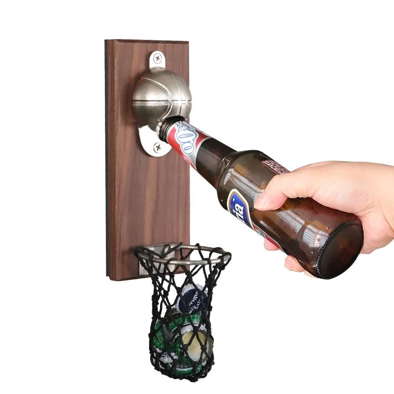 Wall Mounted Bottle Opener Fridge Magnetic Bottle Opener With Pocket Creative Household Decoration  Basketball Shot Beer Opener