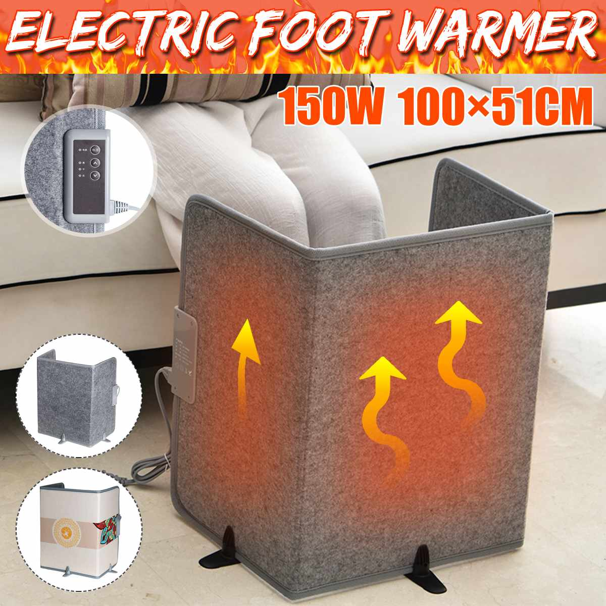 150W Desk Office Home Fold Electric Heater Mini Warm Leg Warmer Safety Heating Clothes Pad For Winter Cold