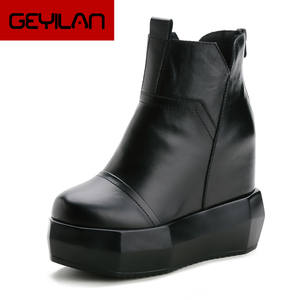 Shoes Snow-Boots Chunky Wedge Platform SWYIVY Autumn Genuine-Leather Woman Black Ankle