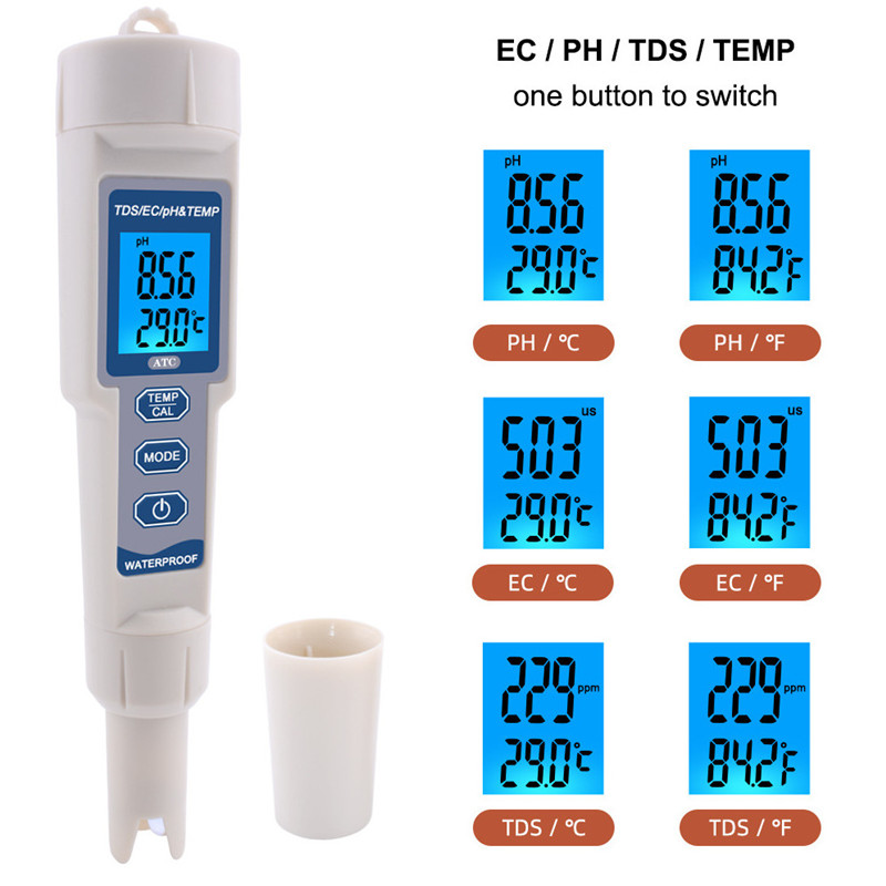 4 In 1 TDS/PH/EC/Temperature Meter PH-3508 With Backlight Waterproof Digital Water Quality Monitor Tester 48% Off