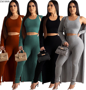 2020 New Winter Women's Set Tank+Long Cardigan+Pants Three Pieces sets Tracksuits Night Club Street Outfits Bandage Casual 5306